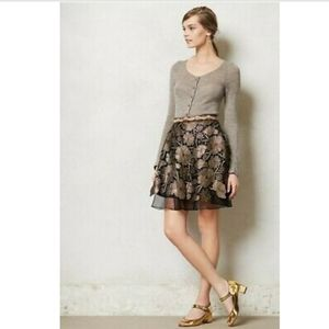 Anthropologie Eva Franco Gilt Bouquet Black Gold Embroidered Flare Skirt Size 14
